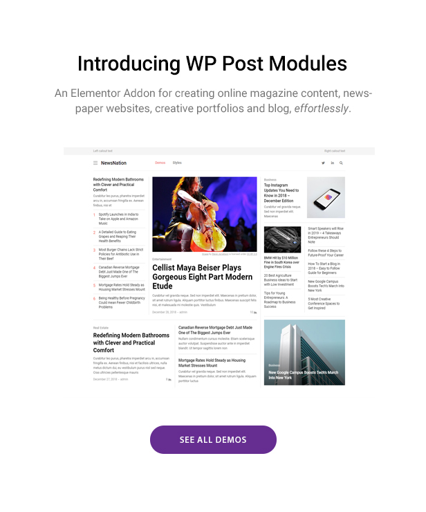 WP Post Module demos